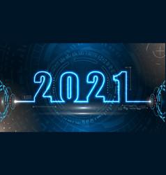 happy new 2021 year futuristic neon background vector image