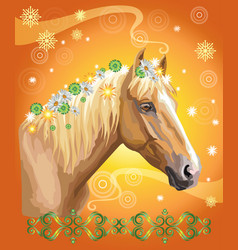 Horse portrait with flowers13 vector
