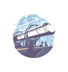 Hyperloop express transport train vector