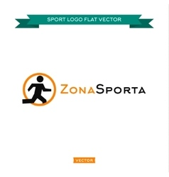 Icon running man logo in a circle sitting vector image