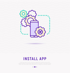 install app on smartphone thin line icon vector image