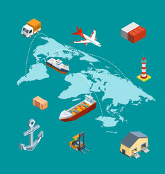 Isometric marine logistics and worldwide vector