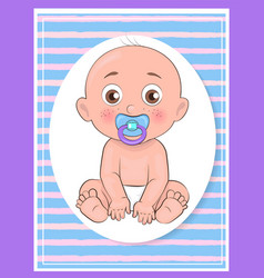 It boy poster newborn toddler with pacifier vector