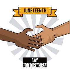 Juneteenth day hands say no to racism vector
