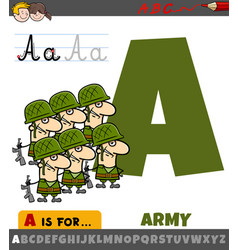 Letter a from alphabet with cartoon army vector