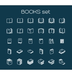 Line art books set vector