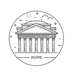 Line pantheon rome italy vector