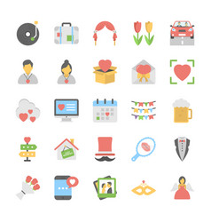 love and romance icons vector image