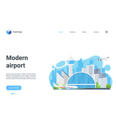 modern airport terminal building landing page vector image