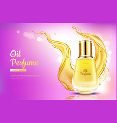 Oil perfume cosmetics on pink gradient background vector