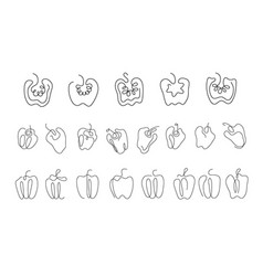 one line art style bell pepper abstract creative vector image