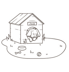 Outline drawing of a friendly dog sleeping in its vector