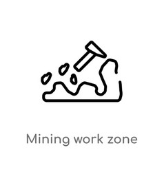 Outline mining work zone icon isolated black vector