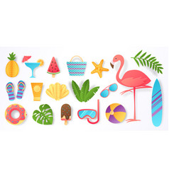paper cut summer elements trendy tropical leaves vector image