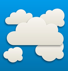 Paper white clouds sky background vector