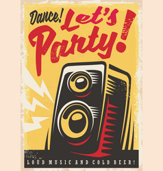 Party invitation retro poster design vector