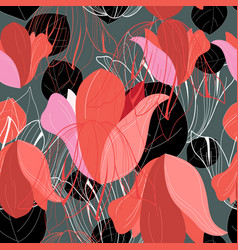 pattern red leaf vector image