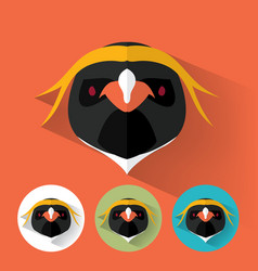 penguin portrait with flat design vector image