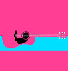 Pink acoustic guitar background vector