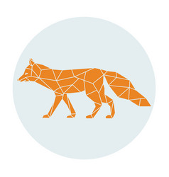 Polygonal silhouette of a orange fox side view vector