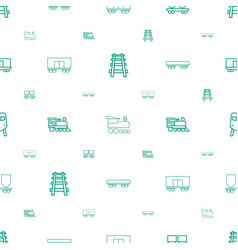 railway icons pattern seamless white background vector image