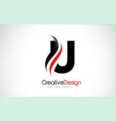 Red and black u letter logo design brush paint vector