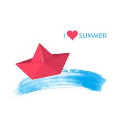 red paper boat summer design vector image