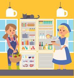 refregerator full food banner vector image