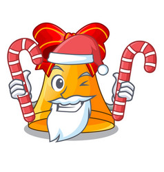 santa with candy golden christmas bell isolated on vector image