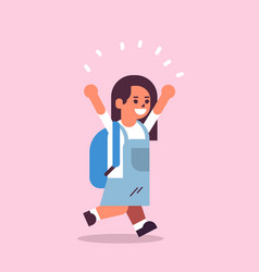 schoolgirl with backpack running back to school vector image