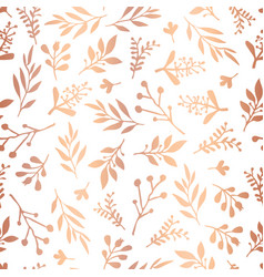 seamless background rose gold foil leaves vector image