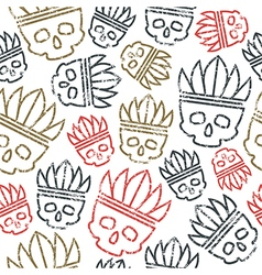 Seamless pattern skull in headdress redskin vector image