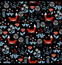 seamless pattern with cute red foxes on flower vector image