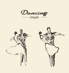 Set dancing couple draw sketch vector