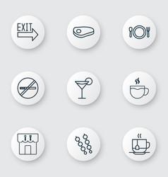 Set of 9 food icons includes steak tea vector