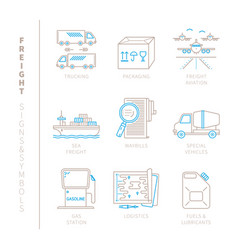 Set of freight icons and concepts in mono thin vector