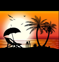 silhouette of beach vector image