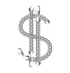 Silver american dollar money sign vector