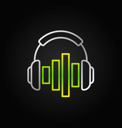 silver headphones with green equalizer line vector image
