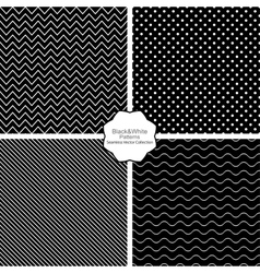 Simple black and white seamless patterns vector