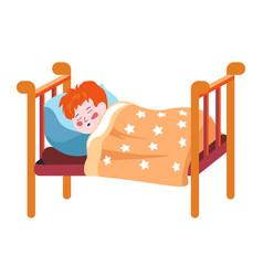 Sleeping redhead child boy asleep in bed vector