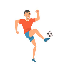 soccer player in sports uniform kicking ball vector image