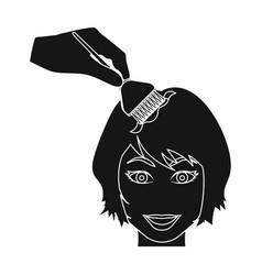 Staining of female hair in a hairdresser hair vector