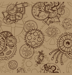 steampunk seamless background with old cobs vector image