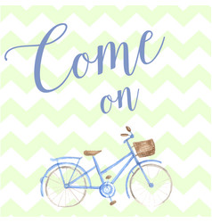 Summer time watercolor hand drawn bicycle pastel vector