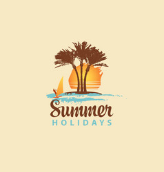 summer travel banner with sun palms and surfer vector image