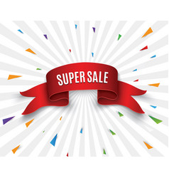 super sale banner ribbon vector image