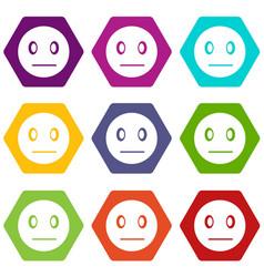 suspicious emoticon set color hexahedron vector image