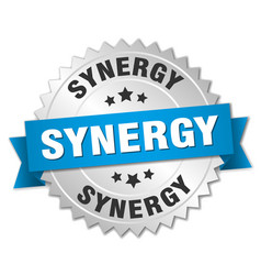 Synergy round isolated silver badge vector
