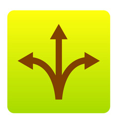 Three-way direction arrow sign brown icon vector